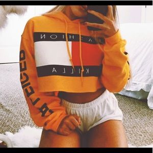 Yellow cropped hoodie.